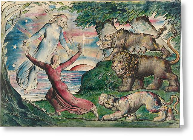 William Blake Greeting Cards - Dante running from the three beasts Greeting Card by William Blake
