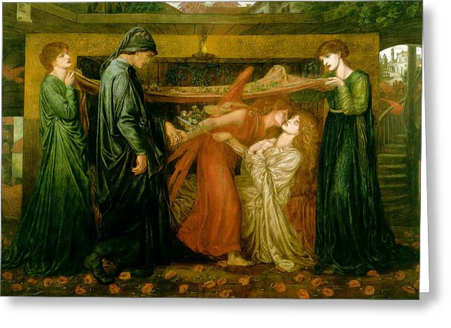 Dantes Dream at the Time of the Death of Beatrice 1856 Greeting Card by Dante Gabriel Rossetti