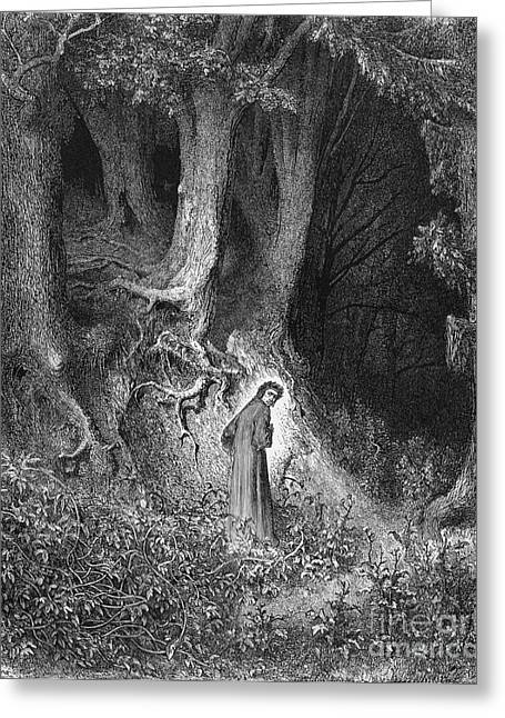 Middle Ages Greeting Cards - Dantes Inferno, The Gloomy Wood Greeting Card by Middle Temple Library