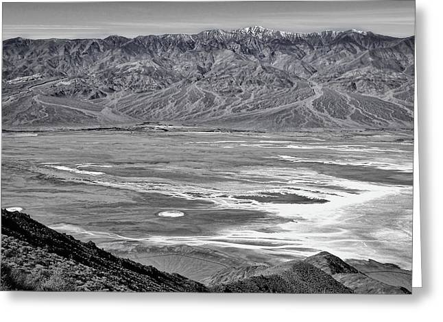 Snow Capped Greeting Cards - Dantes View #4 - Black and White Greeting Card by Stuart Litoff
