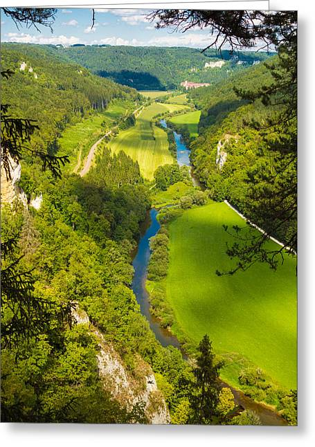 Deutschland Greeting Cards - Danube valley beautiful green trees and meadows Greeting Card by Matthias Hauser