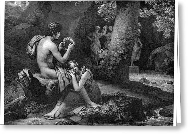 Pan Pipes Greeting Cards - Daphnis and Chloe Greeting Card by Gerard Artist - Richomme Engraver