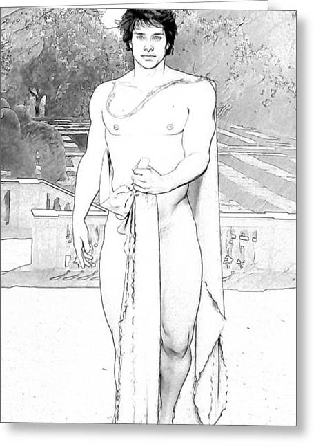 Gay Male Drawings Greeting Cards - Daphnis By Quim Abella Greeting Card by Joaquin Abella