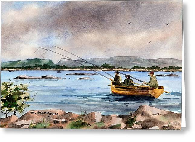 Dap Greeting Cards - MAYO Dapping on Lough Mask Greeting Card by Val Byrne