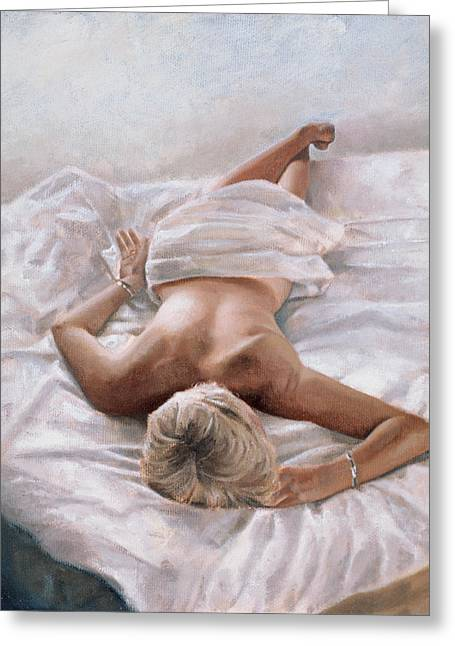 Female Body Paintings Greeting Cards - Dappled and Drowsy Greeting Card by John Worthington