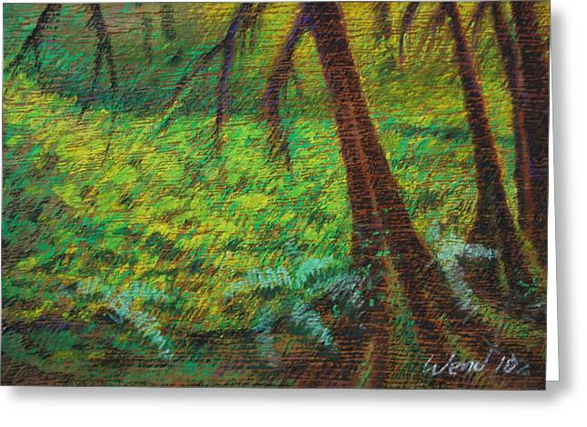 Moss Green Pastels Greeting Cards - Dappled Forest Greeting Card by Daniel Wend