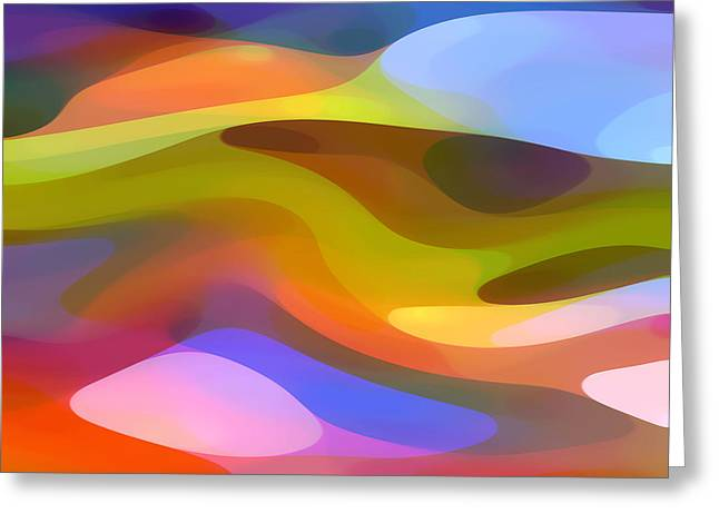 Red Abstract Greeting Cards - Dappled Light 9 Greeting Card by Amy Vangsgard