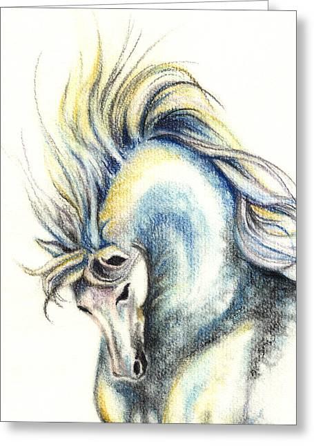 Stallion Pastels Greeting Cards - Dappled Power Greeting Card by Shirley Heyn