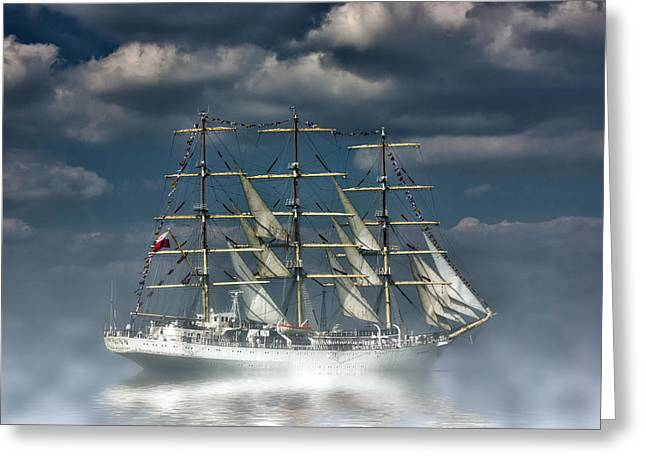 Tall Ships On Water Greeting Cards - Dar Mlodziezy  Greeting Card by Thanet Photos