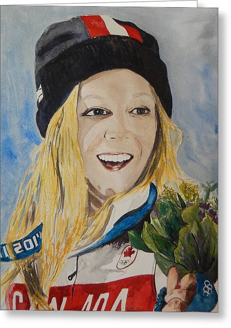 Olympian Paintings Greeting Cards - Dara Howell  Greeting Card by Betty-Anne McDonald