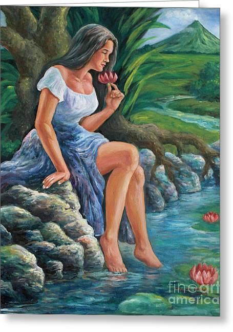 Manuel Cadag Greeting Cards - daragang magayon -beautiful lady in Mayon Greeting Card by Manuel Cadag