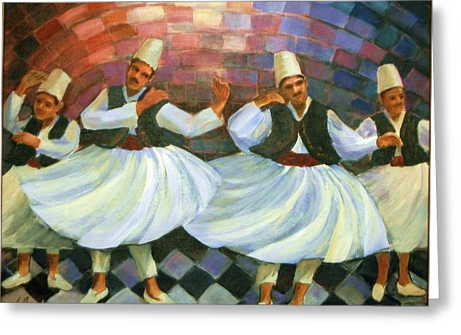 Daraweesh Dancing Greeting Card by Laila Awad Jamaleldin