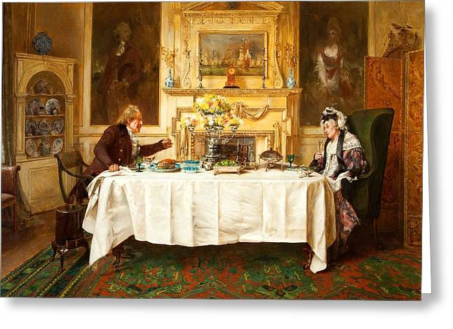 Eating Greeting Cards - Darby And Joan Greeting Card by Walter Dendy Sadler