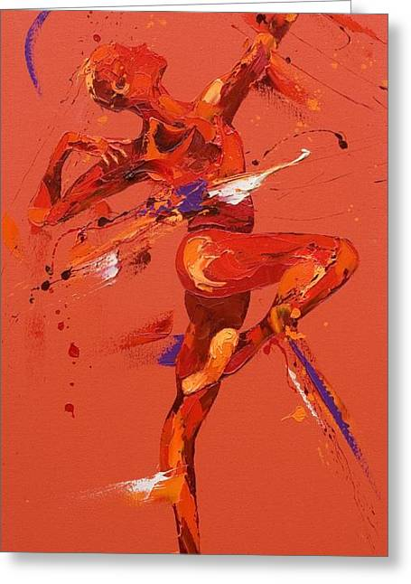 Ballet Dancers Paintings Greeting Cards - Dare  Greeting Card by Penny Warden