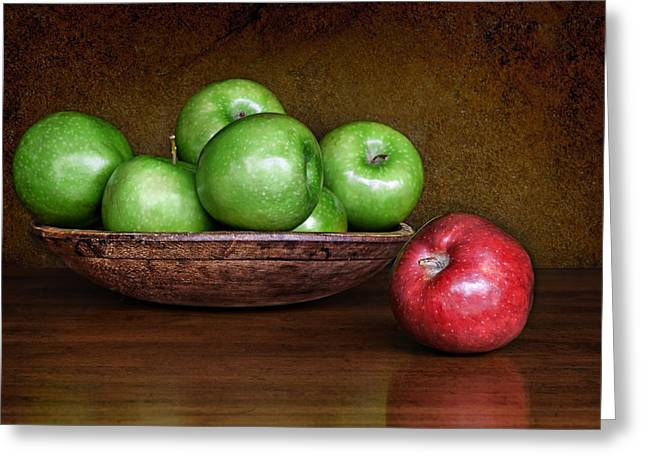 Wooden Bowl Greeting Cards - Dare to Be Different #3 Greeting Card by Nikolyn McDonald
