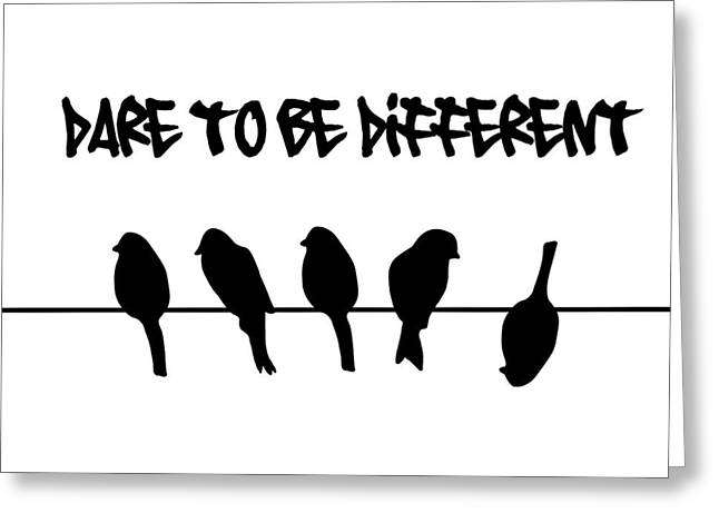 Conformist Greeting Cards - Dare to be Different Birds on a wire Greeting Card by Li Or