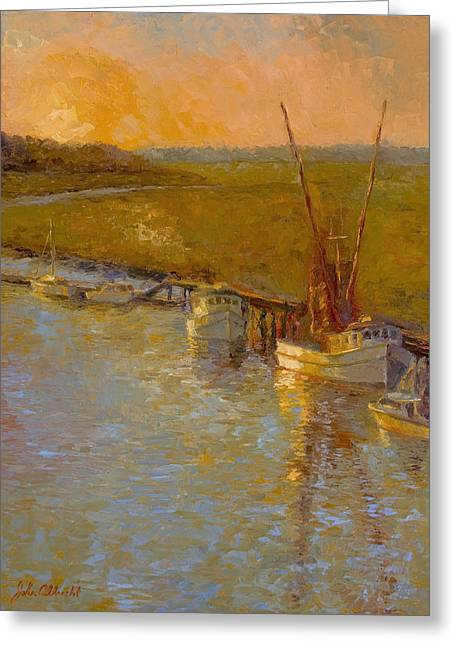 Shrimp Boat Greeting Cards - Darien at Dusk Greeting Card by John Albrecht