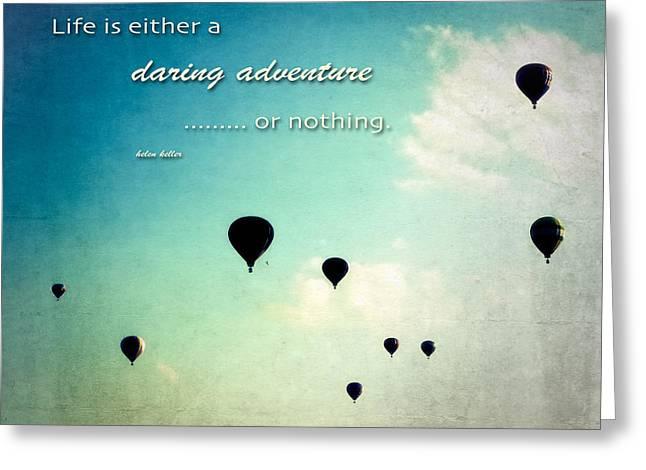 Loom Digital Art Greeting Cards - Daring Adventure Hot Air Balloons Greeting Card by Eleanor Abramson