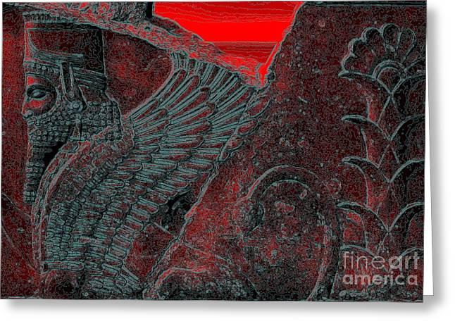 Ancient Persian Art Greeting Cards - Dariush the Great-Sphinx2 Greeting Card by Dariush Alipanah- Jahroudi