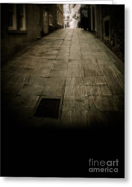 Copy Space Greeting Cards - Dark alley in old historic city Greeting Card by Edward Fielding