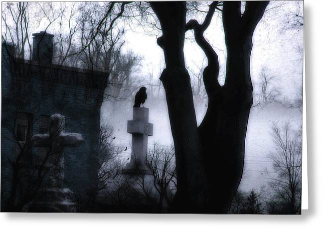 Gothicrow Greeting Cards - Dark And Eerie Graveyard Greeting Card by Gothicolors Donna Snyder