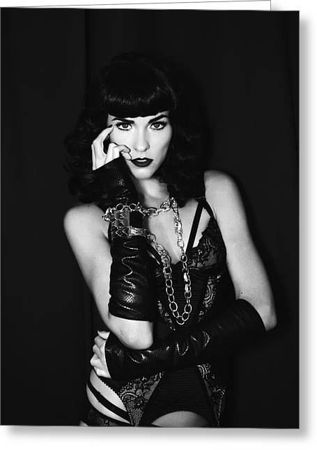 Katy Perry Greeting Cards - DARK ANGEL Bettie Greeting Card by William Dey