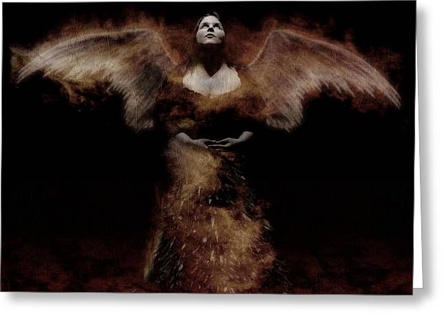 Raunchy Greeting Cards - Dark Angel Greeting Card by KJ Bruce - Infinity Fusion Art