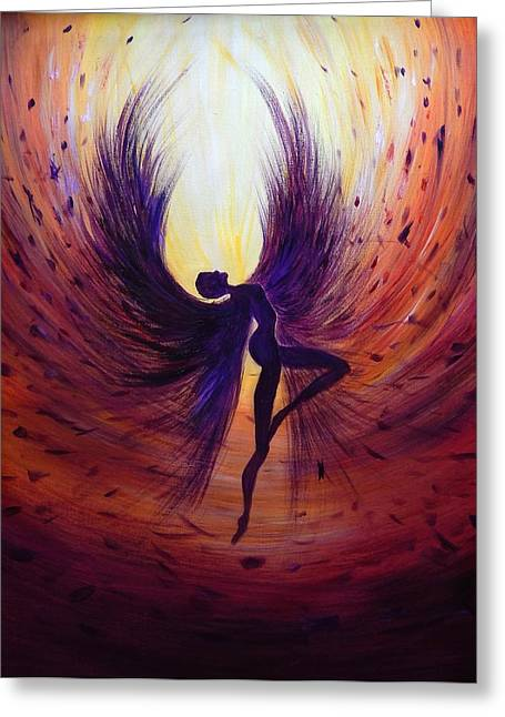 Floating Girl Greeting Cards - Dark Angel Greeting Card by Lilia D