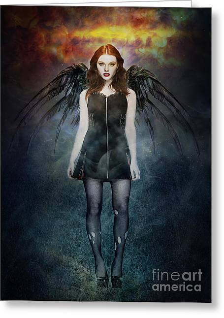 Goth Girl Greeting Cards - Dark Angel Greeting Card by Michael  Volpicelli