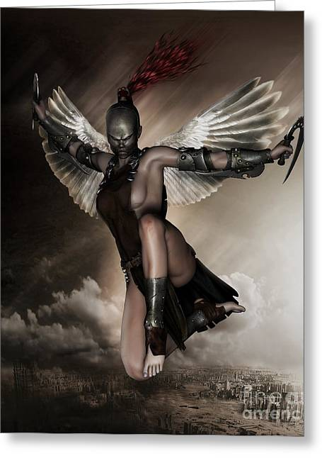 Fantasy Creature Greeting Cards - Dark Angel Greeting Card by Shanina Conway