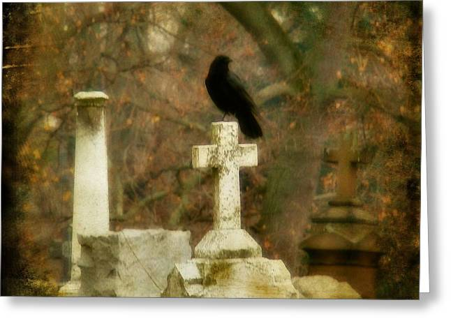 Ravens In Graveyard Greeting Cards - Dark Autumn Greeting Card by Gothicolors Donna Snyder