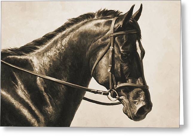 Equine Photo Greeting Cards - Dark Bay Dressage Horse Aged Photo FX Greeting Card by Crista Forest