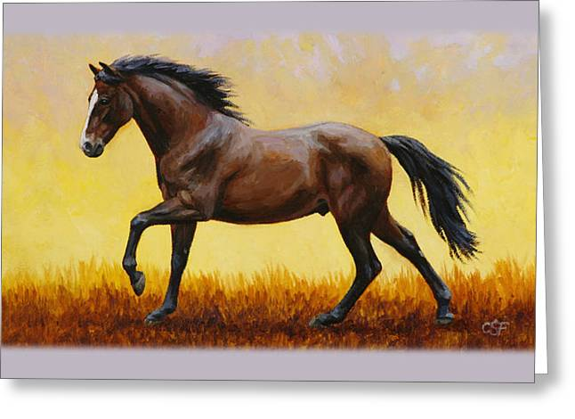 Wild Horse Greeting Cards - Dark Bay Running Horse Phone Case Greeting Card by Crista Forest