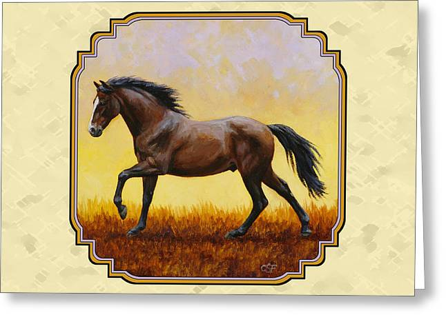 Horses Running Greeting Cards - Dark Bay Running Horse Yellow Greeting Card by Crista Forest