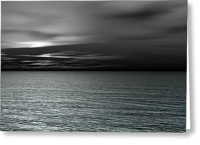 Hidden Spaces Greeting Cards - Dark Black Sea Greeting Card by Bedros Awak