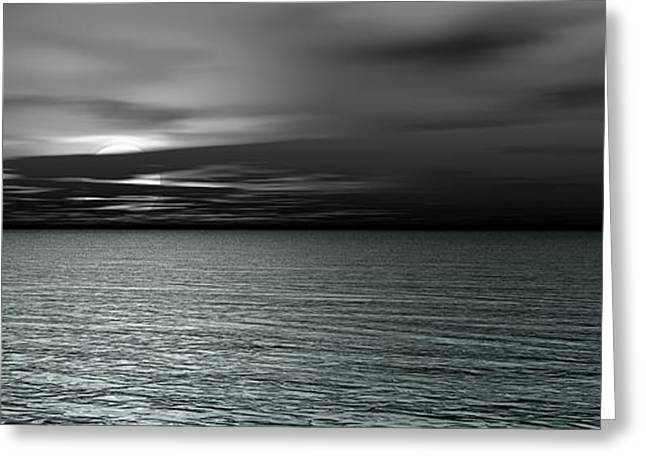 Abstract Rain Greeting Cards - Dark Black Sea Greeting Card by Bedros Awak