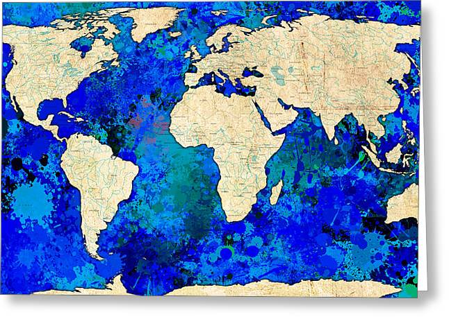 Dark Blue Abstract Map Greeting Card by Gary Grayson