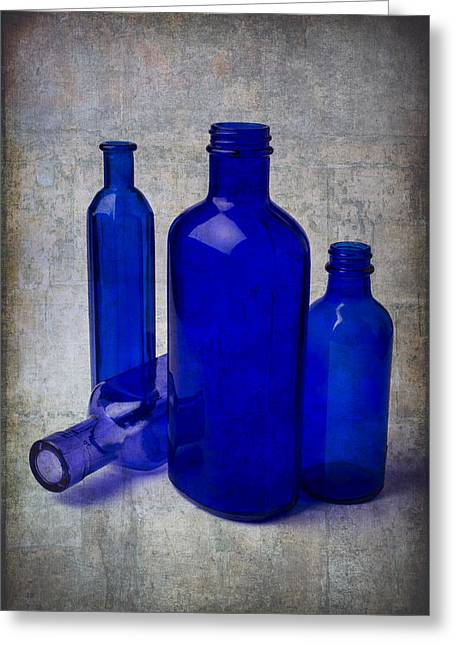 Breakable Greeting Cards - Dark Blue Bottles Greeting Card by Garry Gay