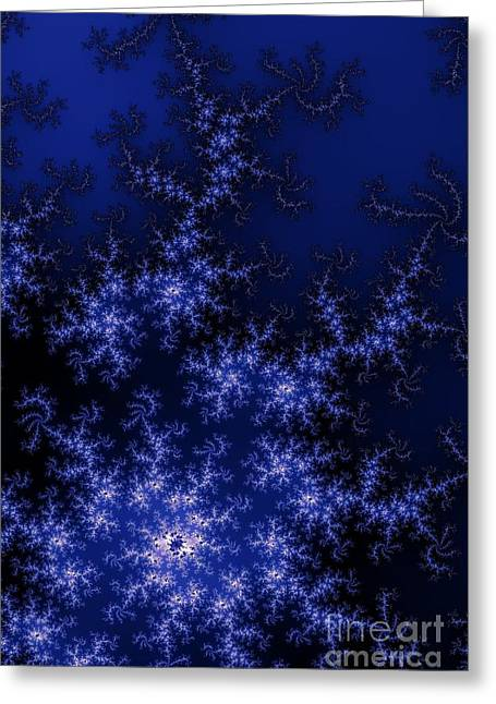 Abstract Style Greeting Cards - Dark Blue Fractal Greeting Card by Henrik Lehnerer
