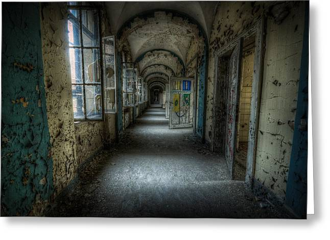 Empty Building Greeting Cards - Dark blue Greeting Card by Nathan Wright