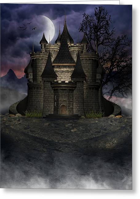 Eerie Greeting Cards - Dark Castle Greeting Card by Suzanne Amberson