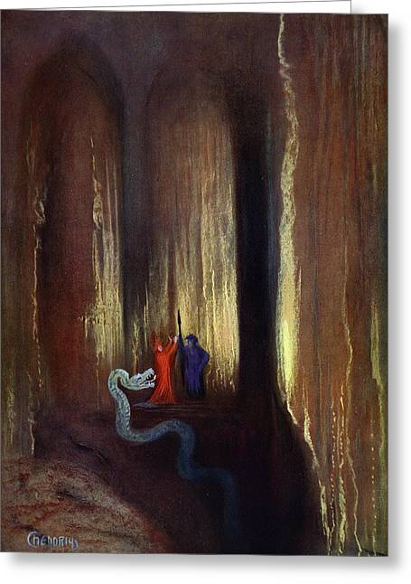 Kingdom Of God Greeting Cards - Dark Cavern, 1906 Greeting Card by Hermann Hendrich