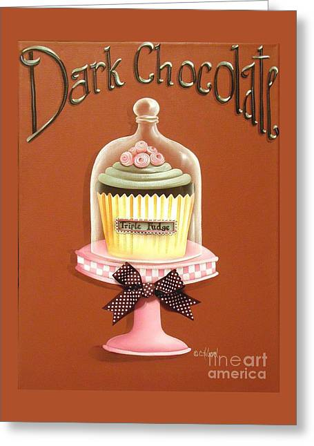 Frosting Greeting Cards - Dark Chocolate Cupcake Greeting Card by Catherine Holman