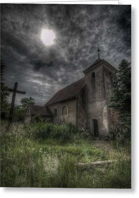 Ancient Ruins Digital Art Greeting Cards - Dark church Greeting Card by Nathan Wright