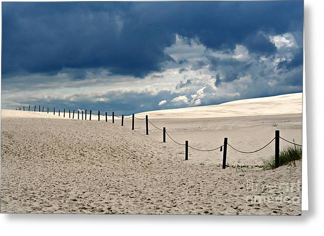 Sanddunes Greeting Cards - Dark Clouds And Bright Sand Greeting Card by Ste Flei