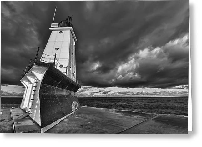Guide Greeting Cards - Dark Clouds Black and White Greeting Card by Sebastian Musial