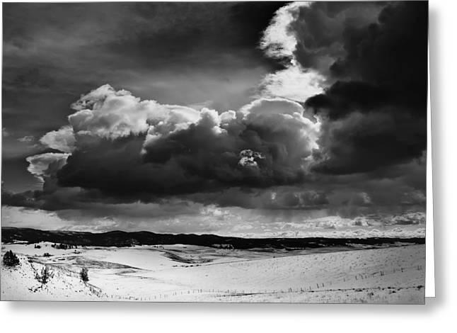 Dark Skies Greeting Cards - Dark Clouds Over Snowy Landscape Greeting Card by Theresa Tahara