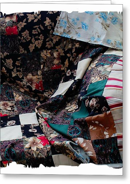 Warm Quilt Tapestries - Textiles Greeting Cards - Dark Colored Blocks Patchwork Quilt  Greeting Card by Barbara Griffin