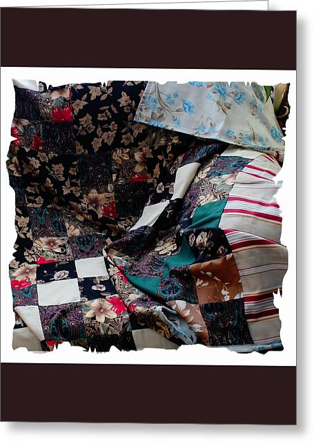 For Sale Tapestries - Textiles Greeting Cards - Dark Colored Blocks Patchwork Quilt  Greeting Card by Barbara Griffin