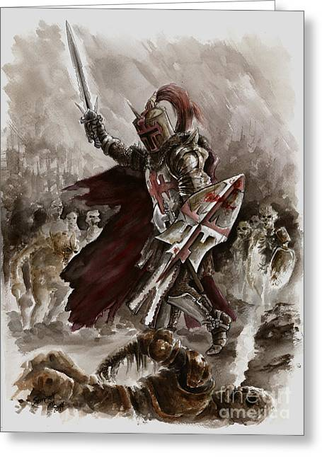 Dungeons Paintings Greeting Cards - Dark Crusader Greeting Card by Mariusz Szmerdt